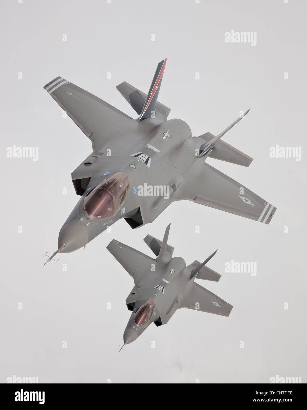 US Air Force F-35 Joint Strike Fighter aircraft in formation April 2, 2011 at Edwards Air Force Base, CA. - Stock Image