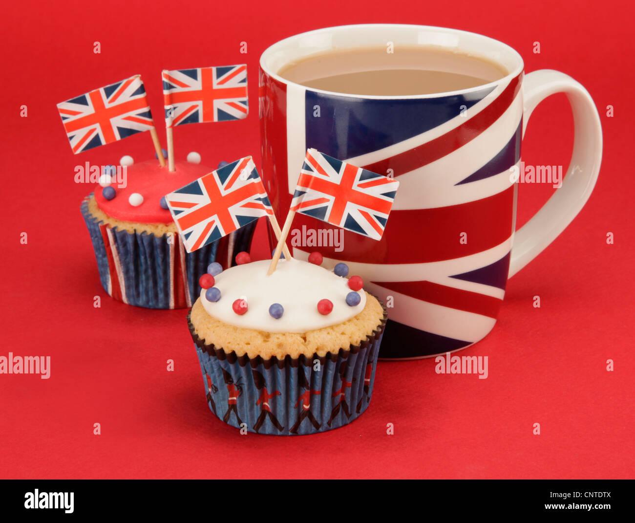 BRITISH TEA AND CUPCAKES - Stock Image