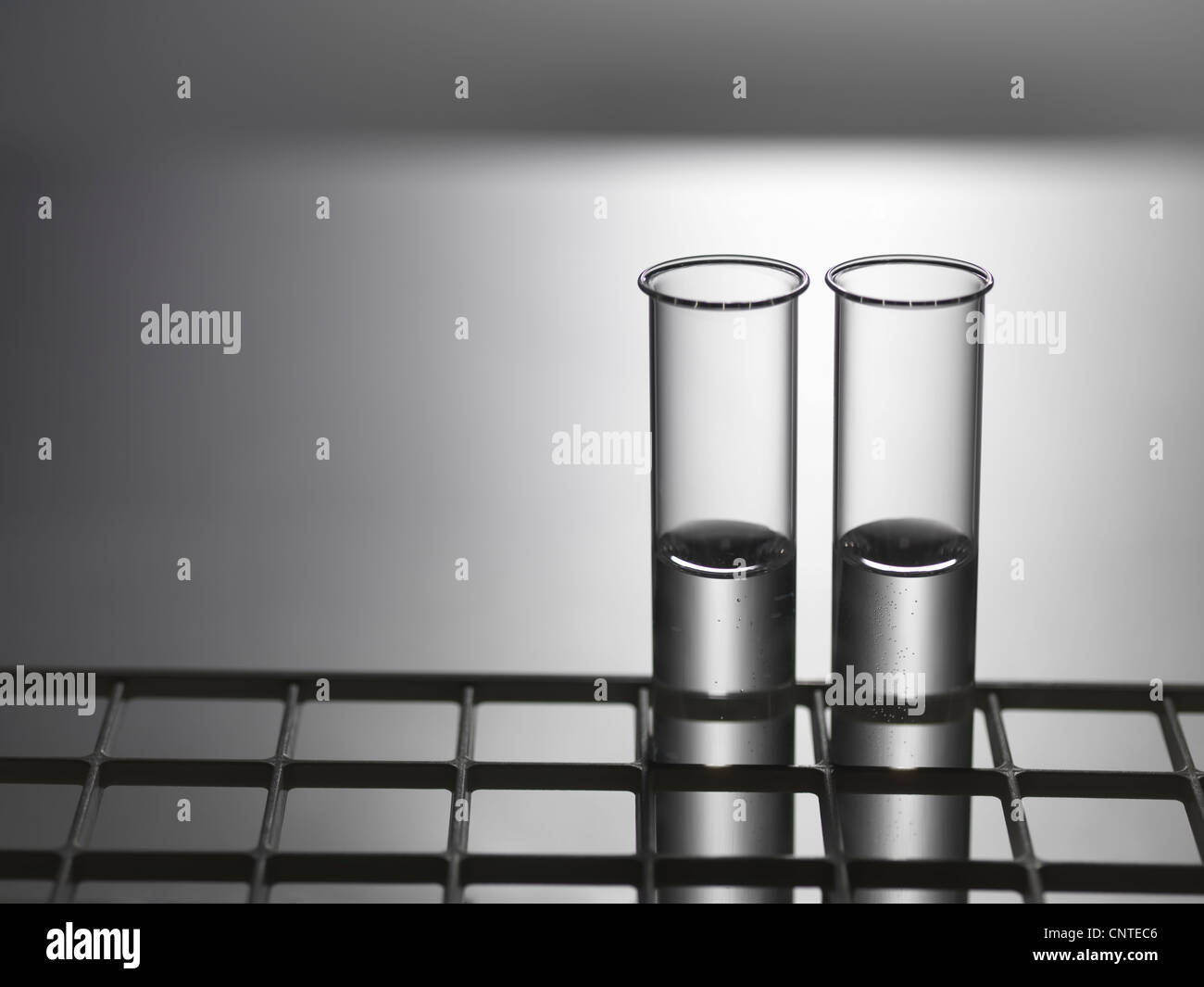 Close up of test tubes in rack - Stock Image