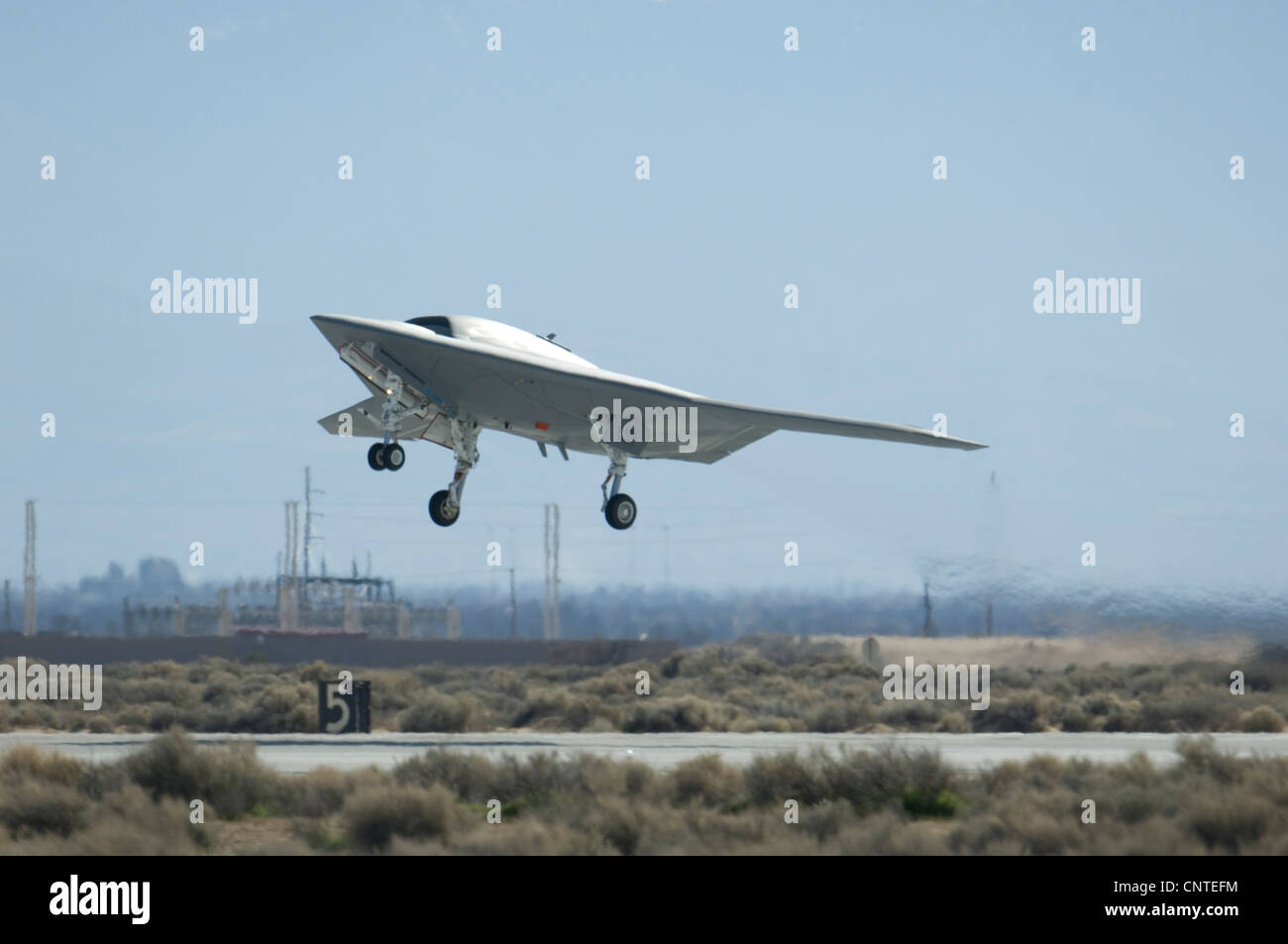 X-47B next generation unmanned aerial drone inflight February 4, 2010 at Edwards Air Force Base, CA. - Stock Image