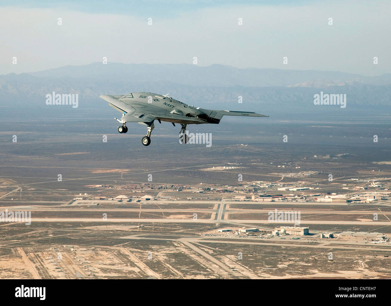 X-47B next generation unmanned aerial drone inflight February 4, 2011 at Edwards Air Force Base, CA. - Stock Image