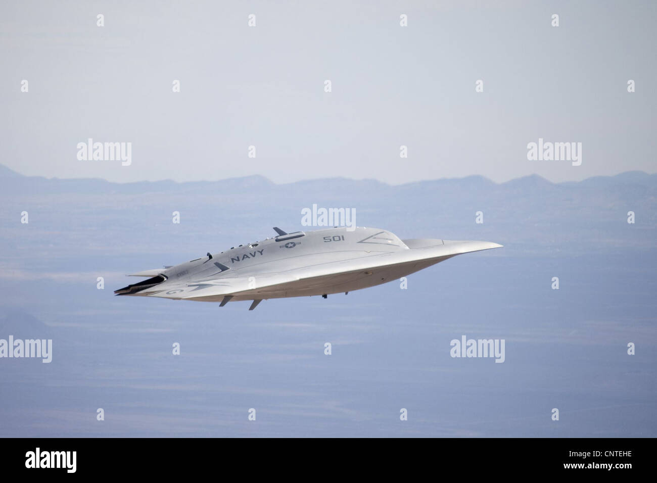 X-47B next generation unmanned aerial drone inflight September 30, 2011 at Edwards Air Force Base, CA. - Stock Image