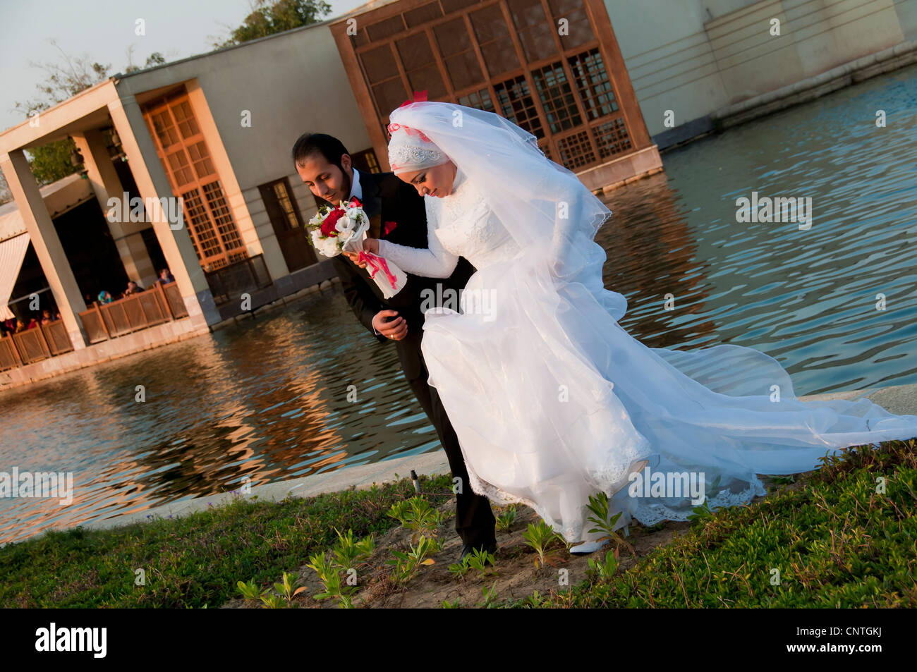 Bride and groom at Al Azhar park Cairo - Stock Image