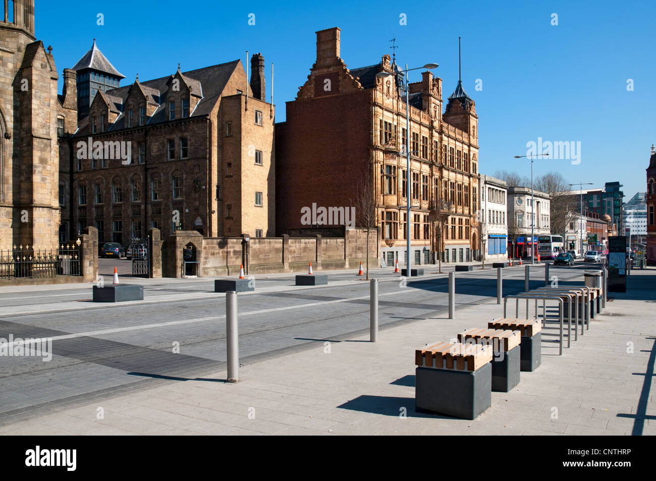 New street furniture and public realm landscaping on Chapel Street, Salford, Manchester, England, UK - Stock Image