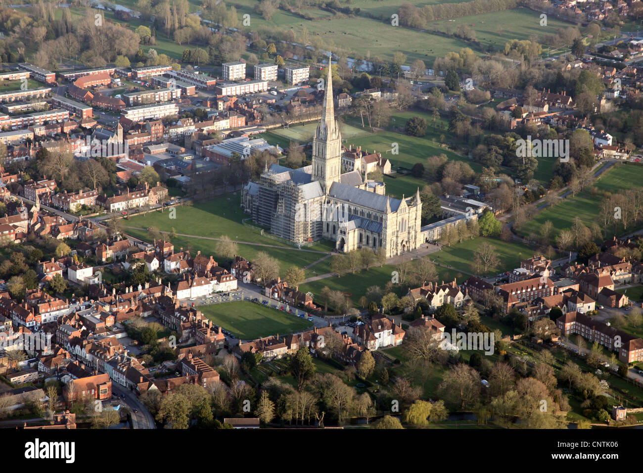 Salisbury from the air, including Salisbury Cathedral, England. Photographed from a hot air balloon. Stock Photo