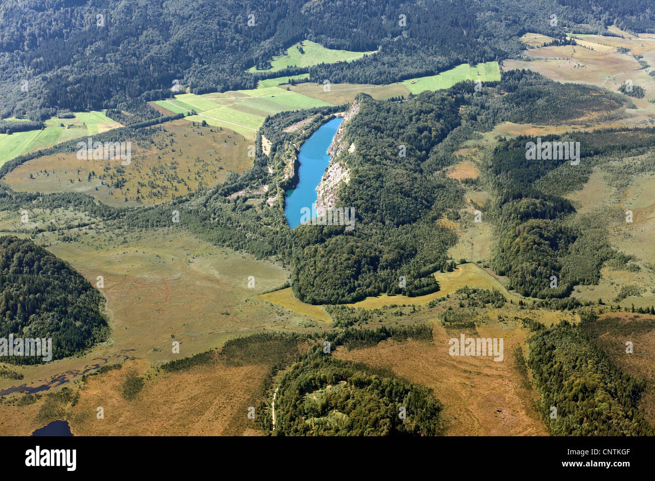 Lake Schwarz (Schwarzsee) south of Langer Koegel, view from east, Germany, Bavaria - Stock Image