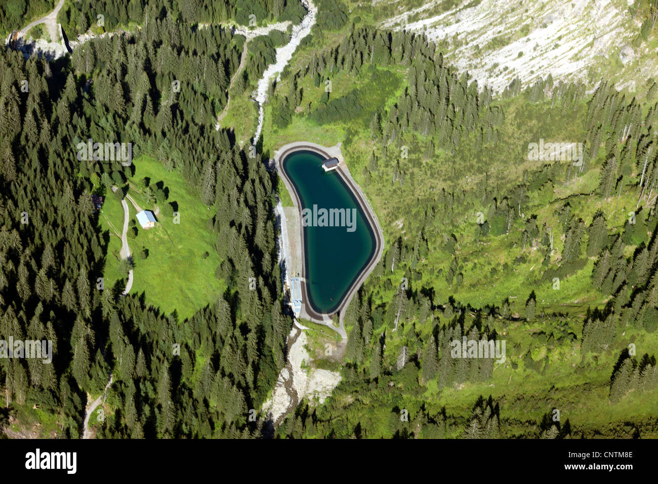 lake for snow producing in the Alps, Germany, Bavaria, Allgaeuer Alpen, Allgaeu Stock Photo
