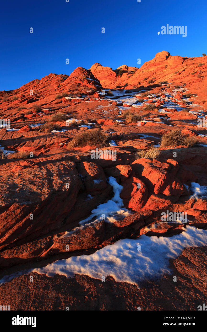 Coyote Buttes North in winter in the evening, USA, Arizona, Coyote Buttes North, Page Stock Photo