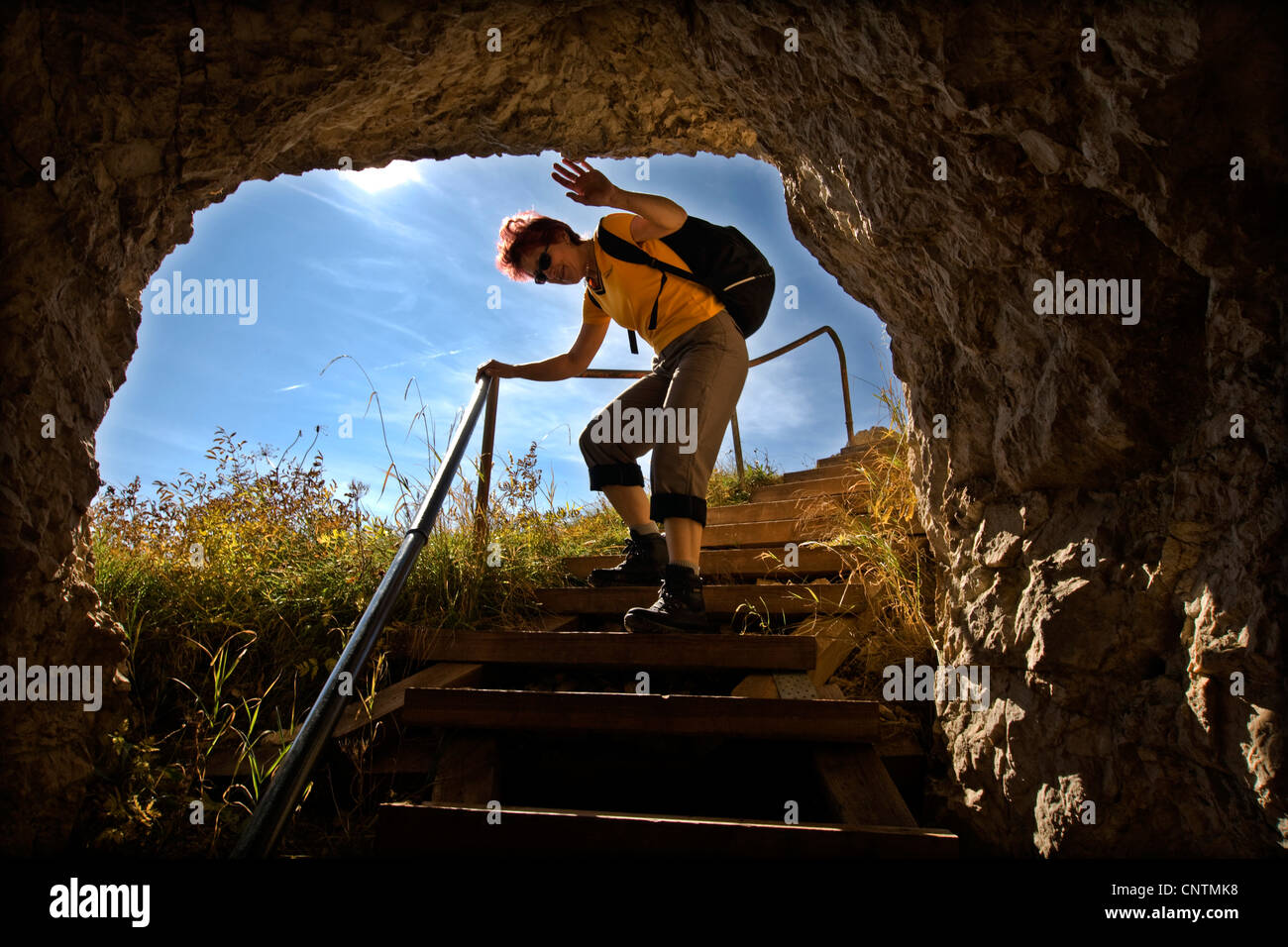 woman on steep stair on Thomas-Eder-Steig, Untersberg, Germany, Bavaria, Berchtesgadener Land, Markt Schellenberg - Stock Image