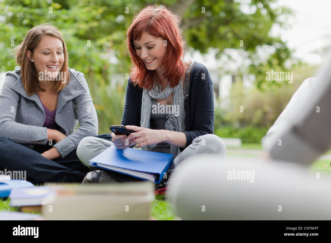 Students using cell phone on grass - Stock Image