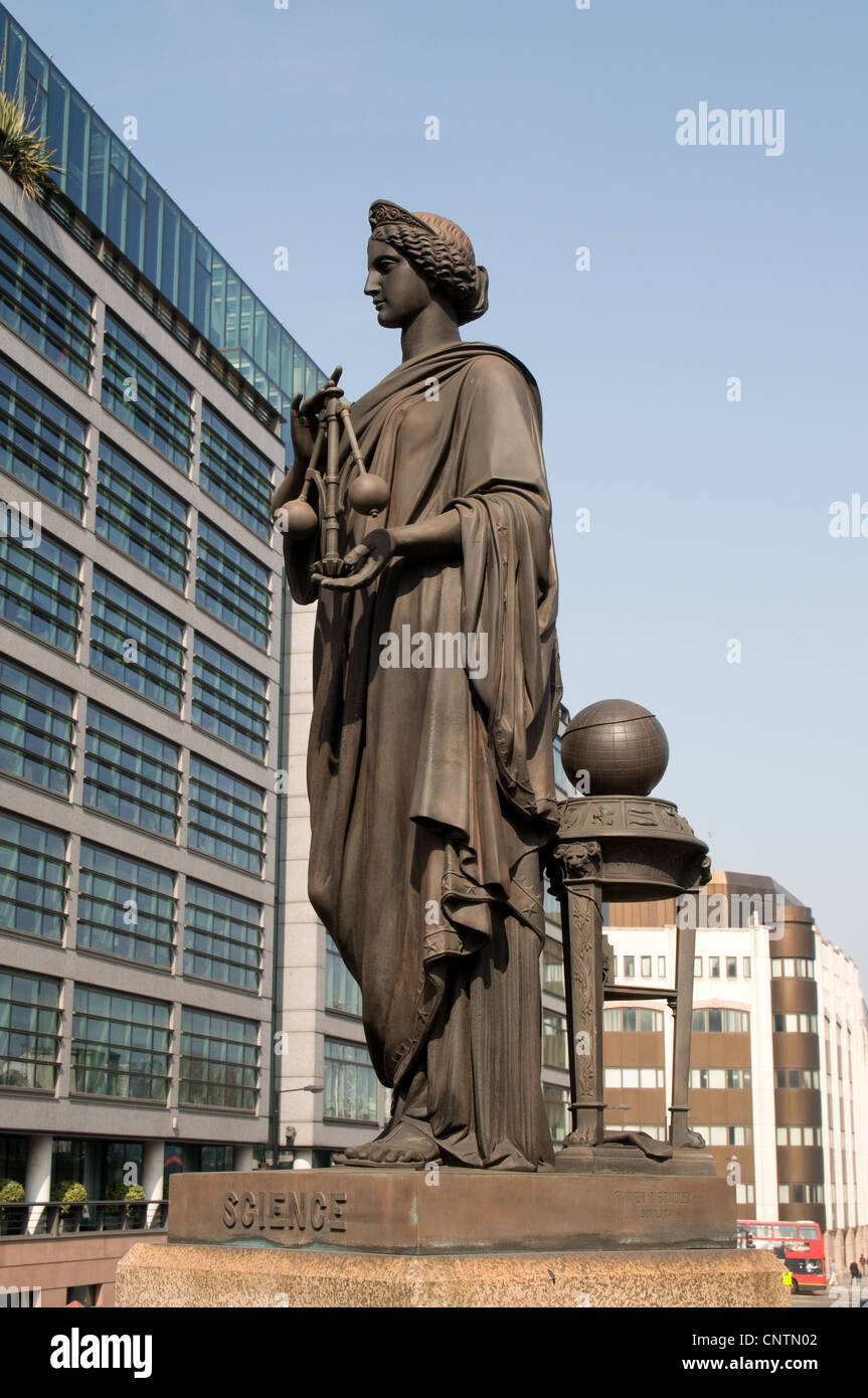A statue on Holborn viaduct in the City of London dedicated to Science. it has been made by Farmer & Brindley. - Stock Image