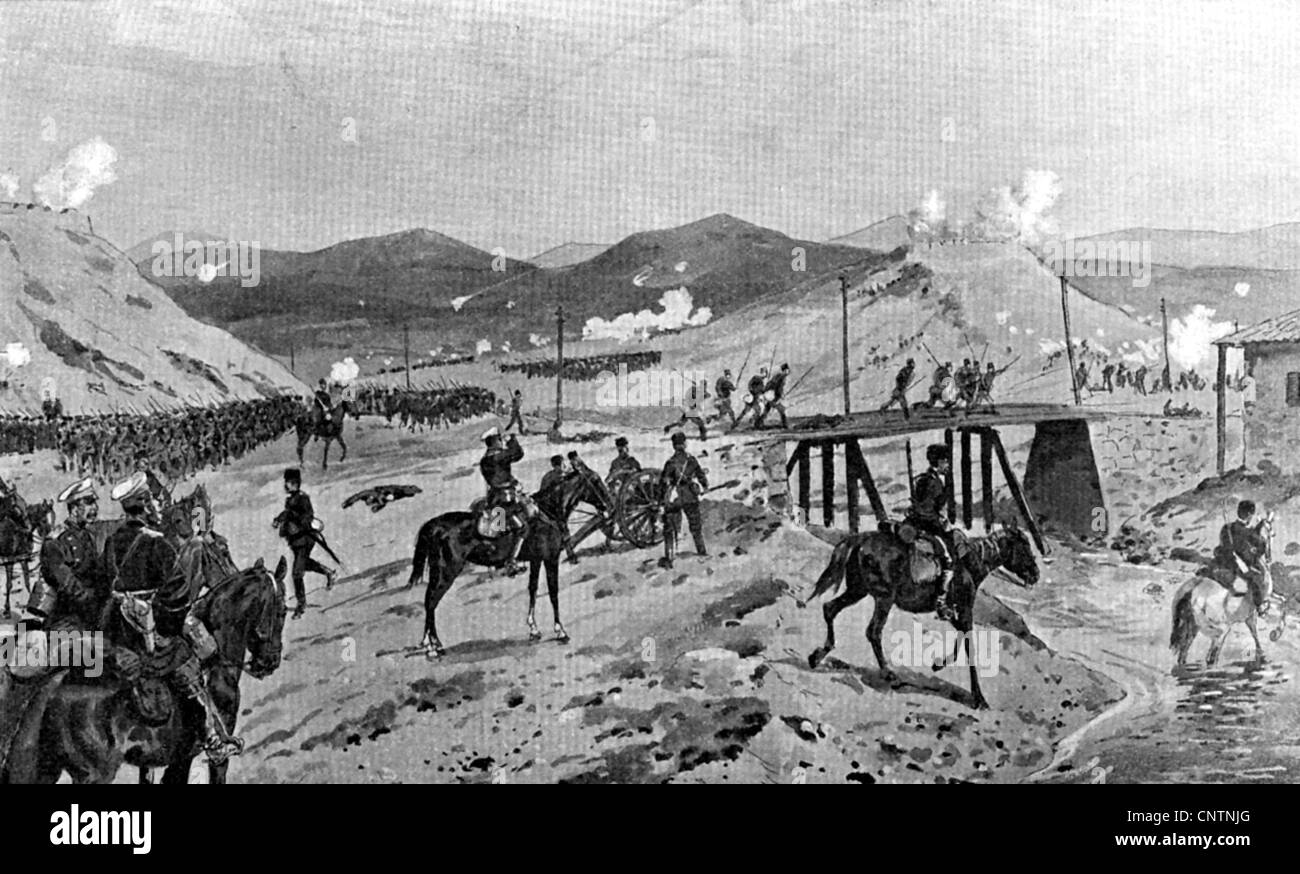 events, 1912/1913, Second Balkan War, 1913, Bulgarian troops repelling a Serbian attack on the redoubts near Slivnitsa, - Stock Image