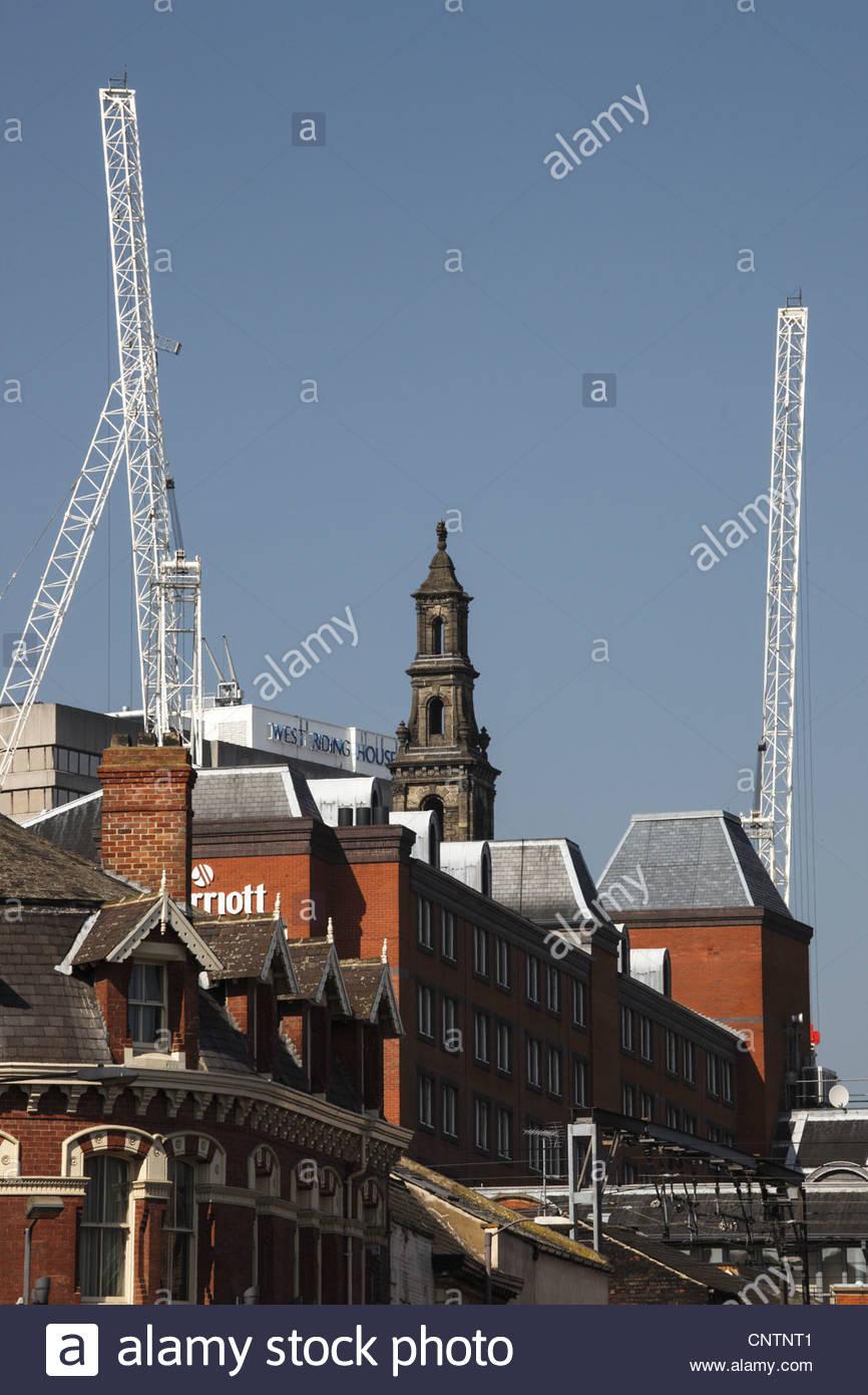 Leeds skyline - cranes and redevelopment . Leeds West Yorkshire England - Stock Image