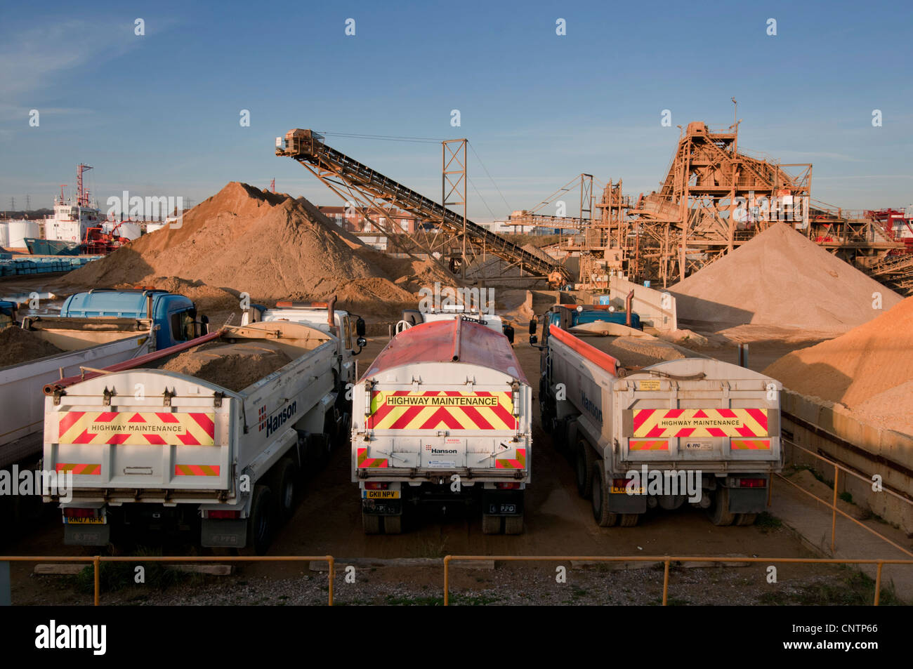 Gritting trucks ready to get on the road. - Stock Image