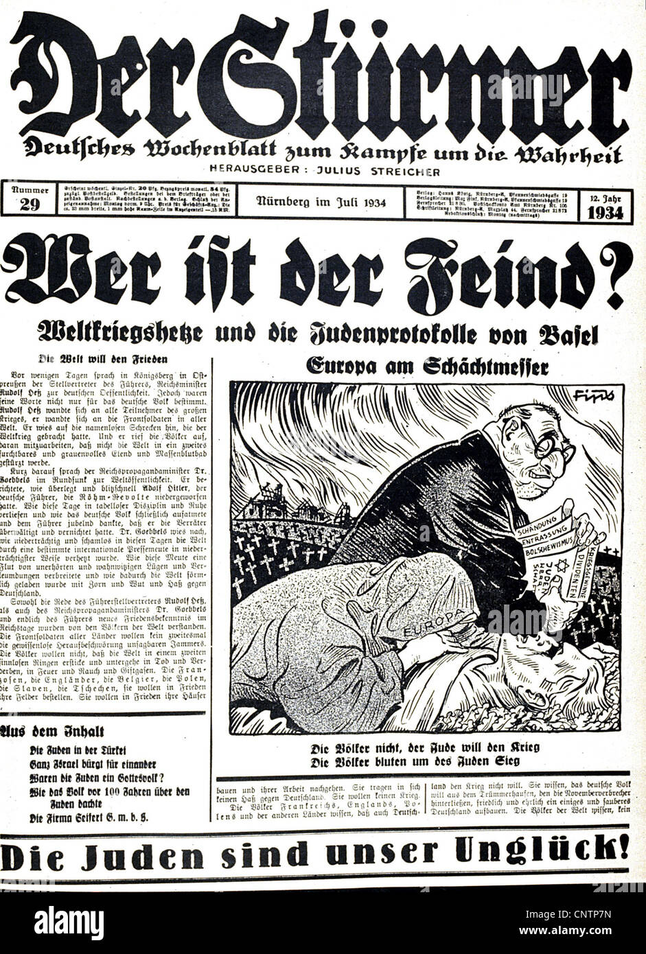National Socialism / Nazism, propaganda, press / media, 'Der Stuermer', No. 29, July 1934, front page, headline: - Stock Image
