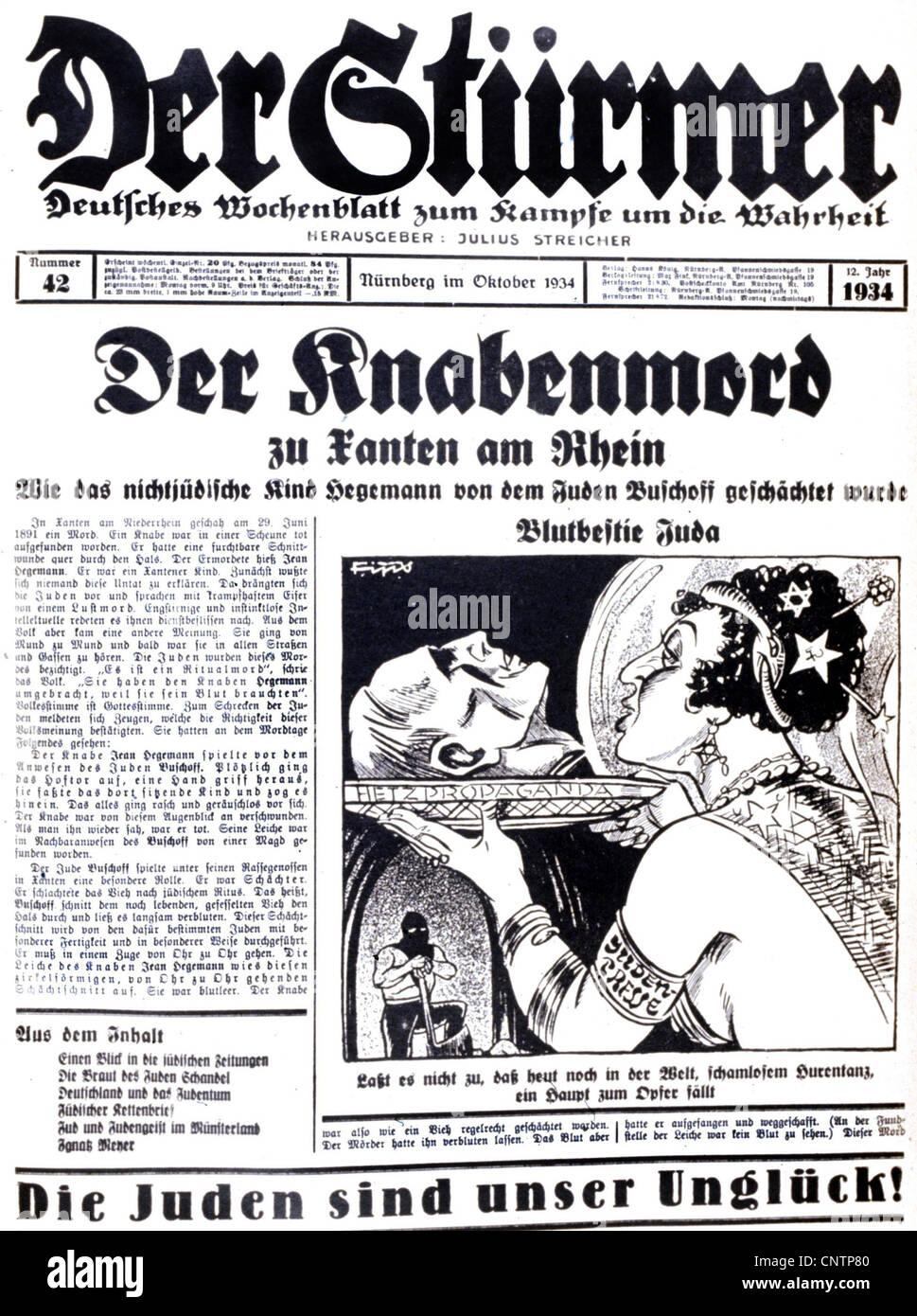 National Socialism / Nazism, propaganda, press / media, 'Der Stuermer', No. 42, October 1934, front page, - Stock Image