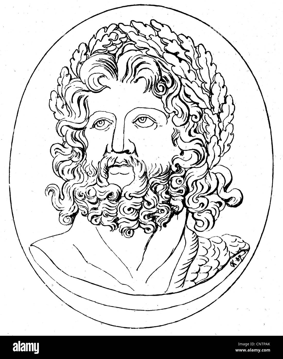 Zeus (Latin: Jupiter), Greek 'divine king', leader of gods, god of sky and thunder, portrait, head with - Stock Image
