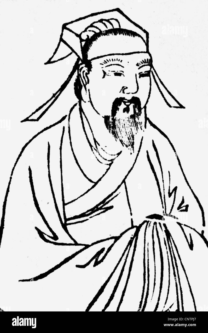 Zhu Xi, 19.11.1130 - 24.4.1200, Chinese philosopher, half length, later Chinese illustration, Additional-Rights - Stock Image