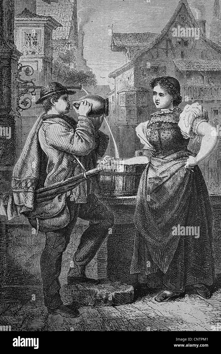 Journeyman in Rottweil, Baden-Wuerttemberg, Germany, historical woodcut, circa 1870 - Stock Image