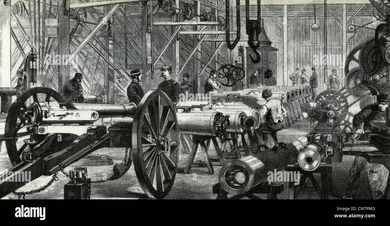 FRENCH ARMAMENTS FACTORY about 1865 - Stock Image