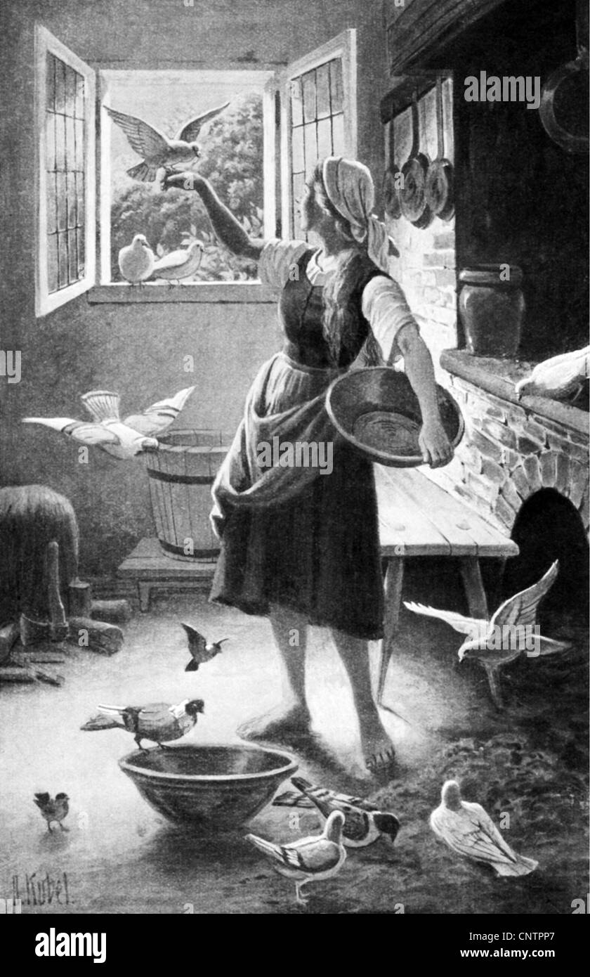 literature, fairy tales, 'Cinderella', scene, Cinderella and the pigeons, , Additional-Rights-Clearences - Stock Image