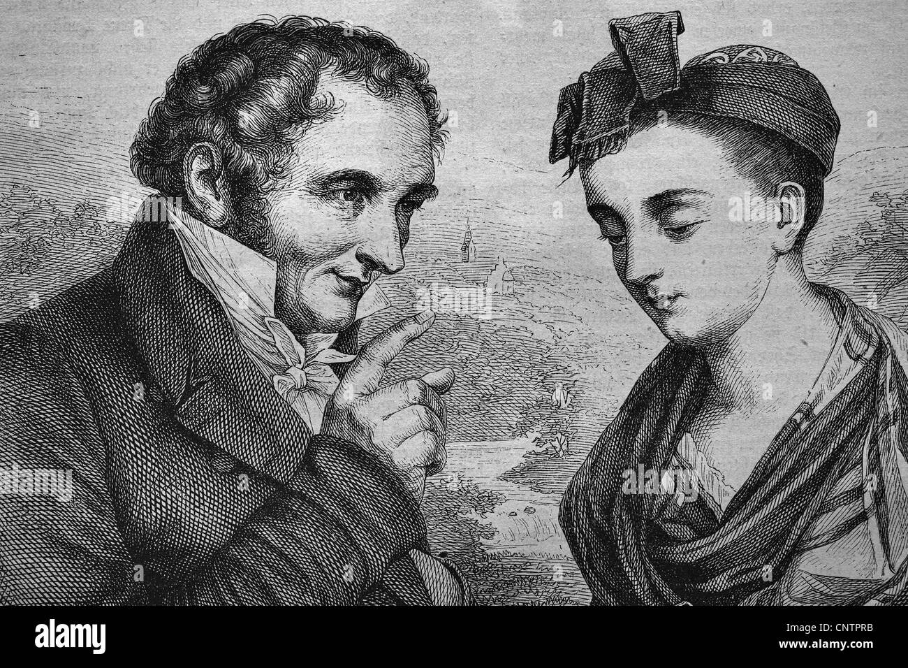 Johann Peter Hebel, 1760 - 1826, poet, and Breneli, actually Veronica Rohre, 1779 - 1869, probably his mistress, Stock Photo