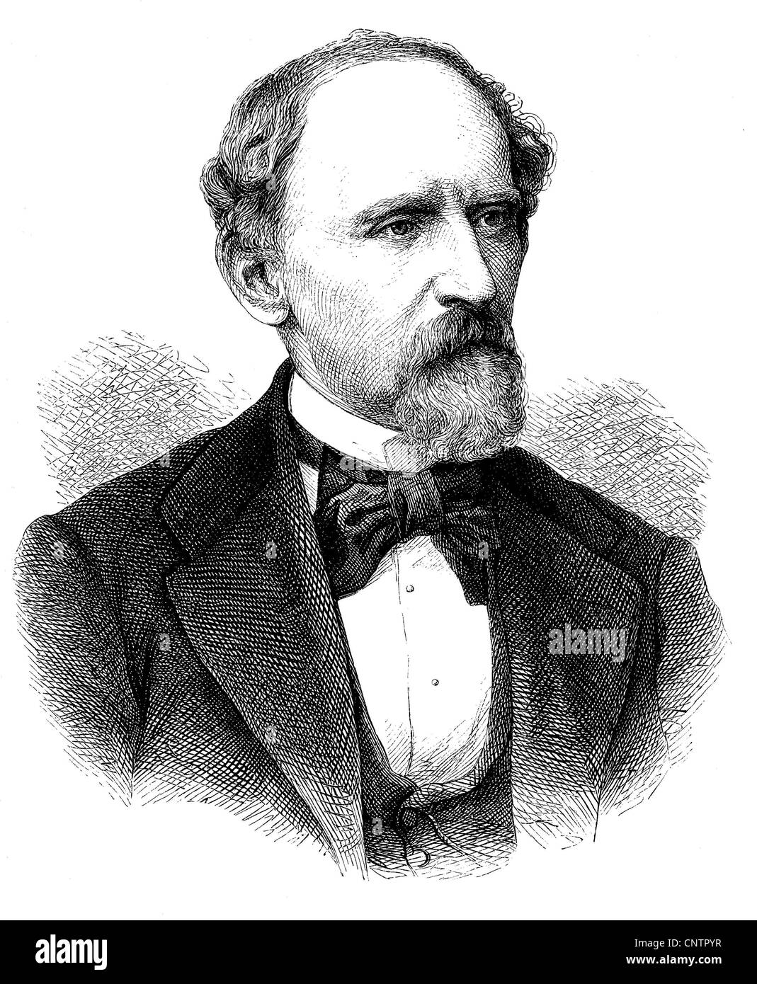 Adolph Lothar Bucher, a Prussian officer, journalist and politician, 1817 - 1892, historical woodcut, circa 1870 Stock Photo
