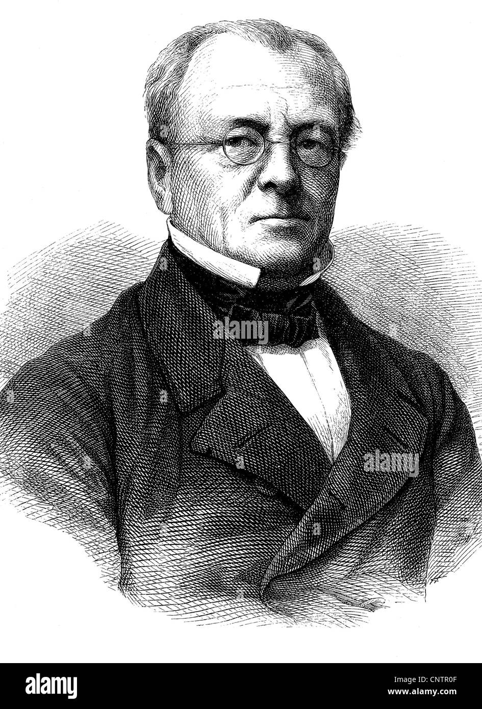 Henry Leo 1799 - 1878, a German historian and Prussian politician, historical woodcut, circa 1870 - Stock Image