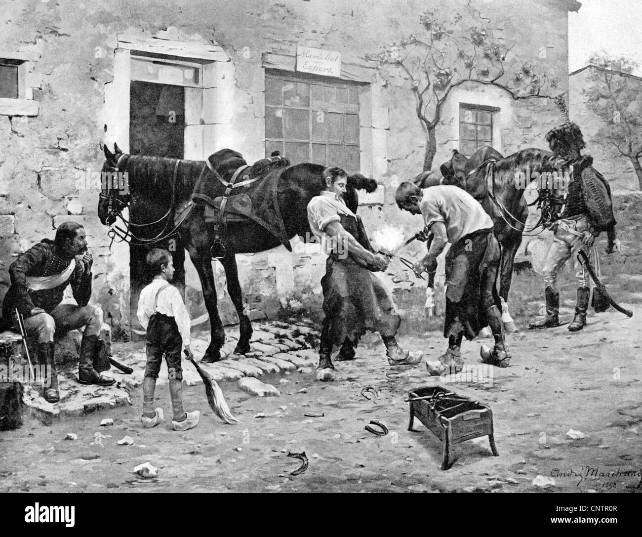 military, France, cavalry, hussars having a horse shoed, circa 1810, print after painting by Andre Marchand, 1898, - Stock Image