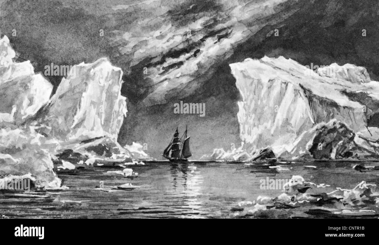 geography / travel, arctic, polar night, illustration after Elisha Kane (1822 - 1857), iceberg, berg, icebergs, Stock Photo