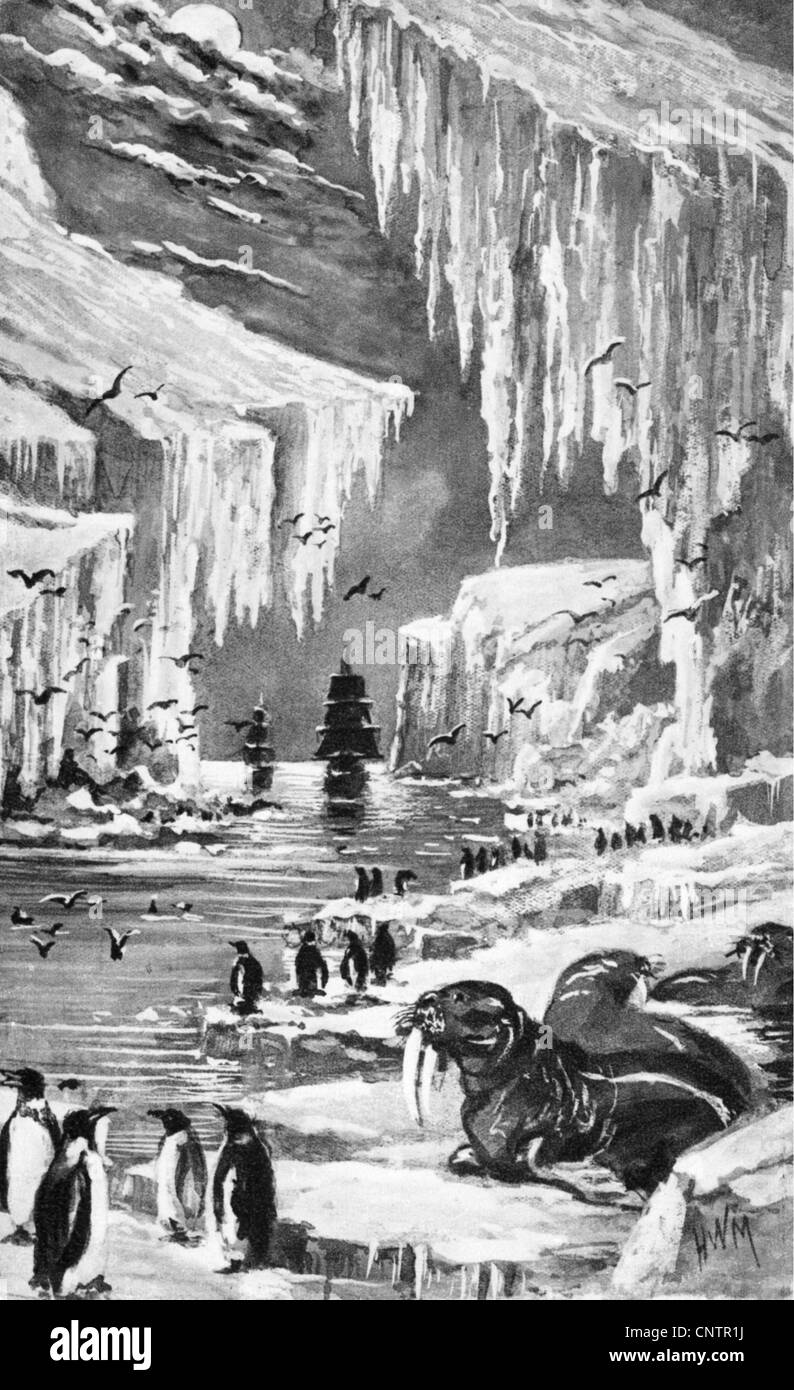 geography / travel, arctic, arrival of an expedition, illustration after Elisha Kane (1822 - 1857), ice, North Pole, Stock Photo
