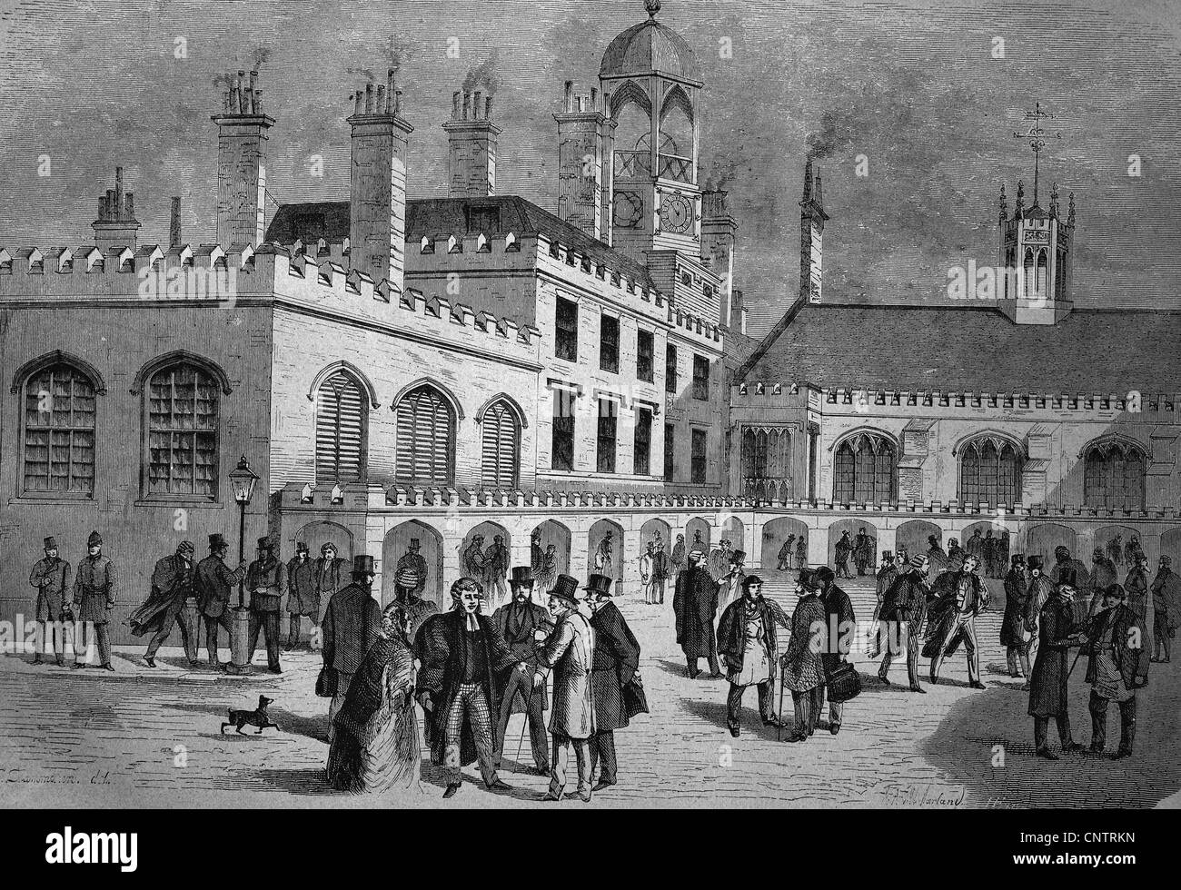 Royal Courts of Justice, London, England, United Kingdom, historical woodcut, circa 1870 - Stock Image