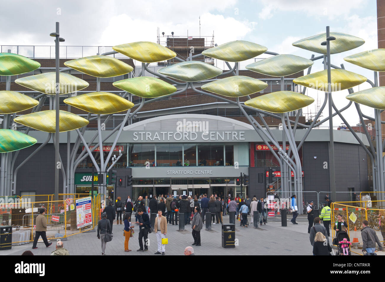 The Shoal Artwork and Stratford Shopping Centre, Stratford Town Centre, London, England, UK - Stock Image