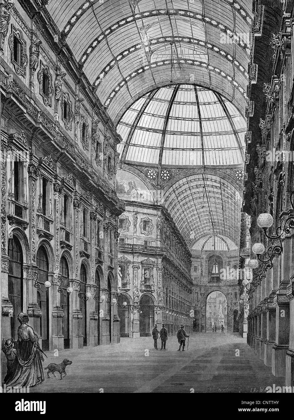 Galleria Vittorio Emanuele, Milan, Italy, historical engraving, 1869 - Stock Image
