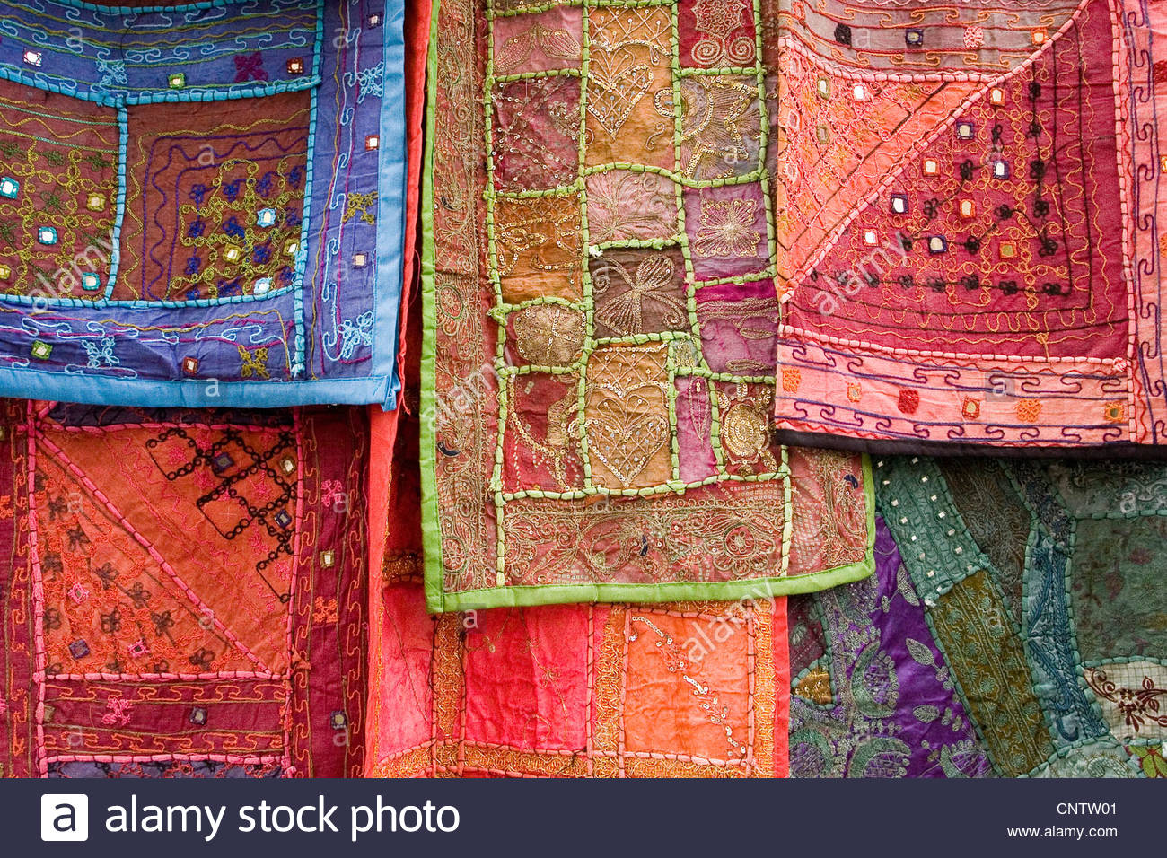 Ornate tapestries hanging together Stock Photo