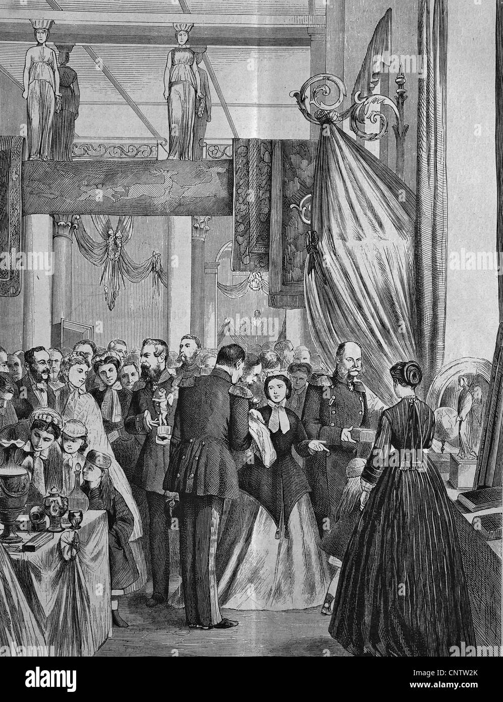 Victoria Exhibition in Berlin, Germany, historical engraving, 1869 - Stock Image
