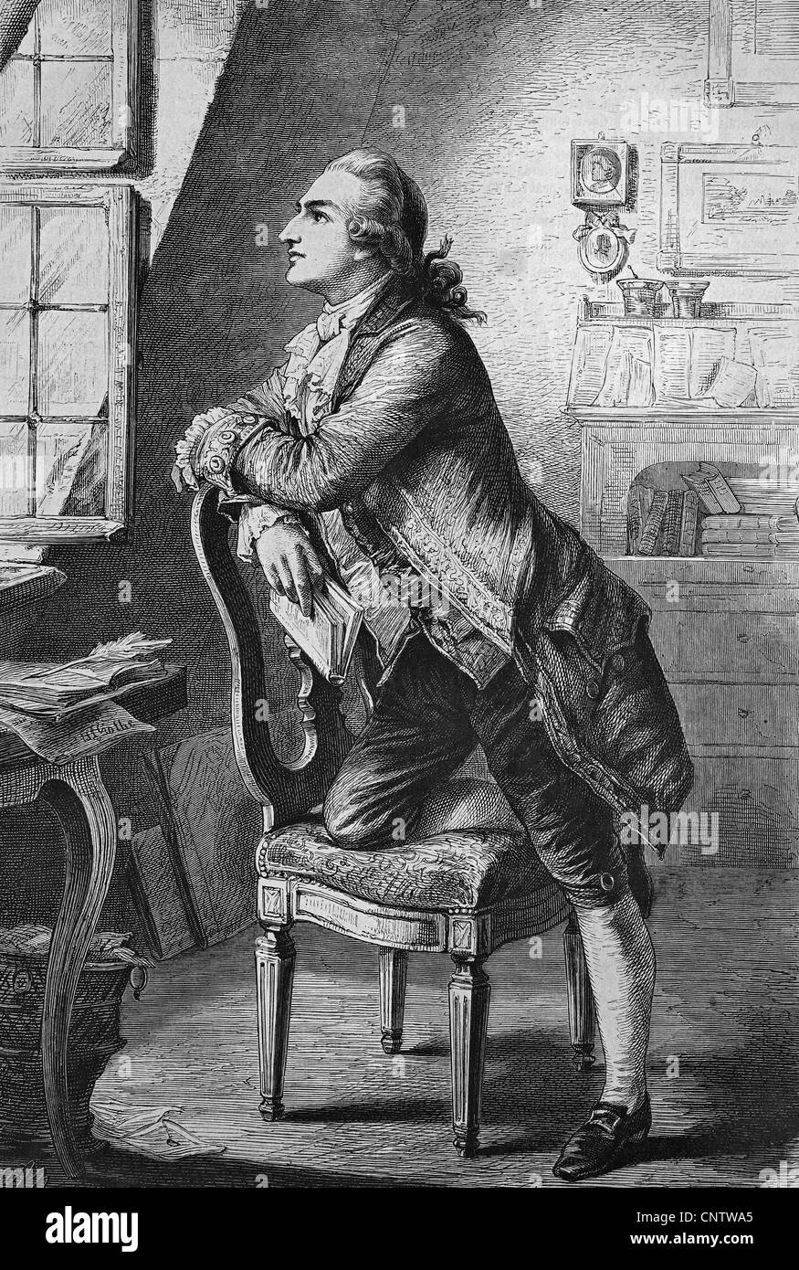 Goethe in the attic of his parental home, historical engraving, 1869 - Stock Image