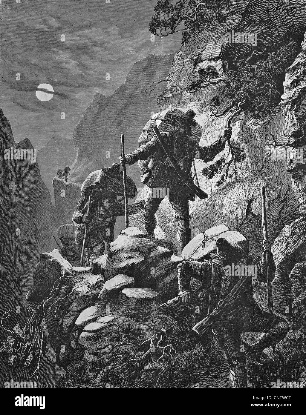 Nocturnal smugglers' run in the Alps, historical engraving, 1869 Stock Photo