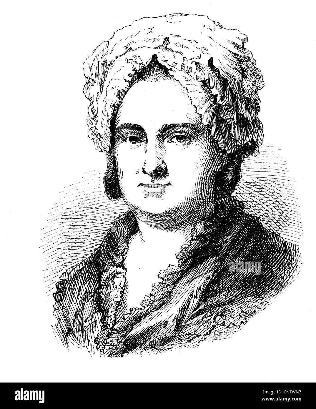 Catharina Elisabeth Goethe, 1731 - 1808, born Textor, mother of Johann Wolfgang Goethe, historical engraving, circa - Stock Image