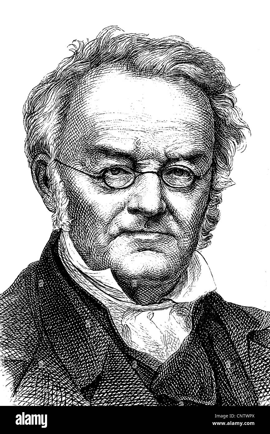 Carl Ritter, 1779-1859, considered one of the founders of scientific geography, Berlin Geographical Society, historical - Stock Image