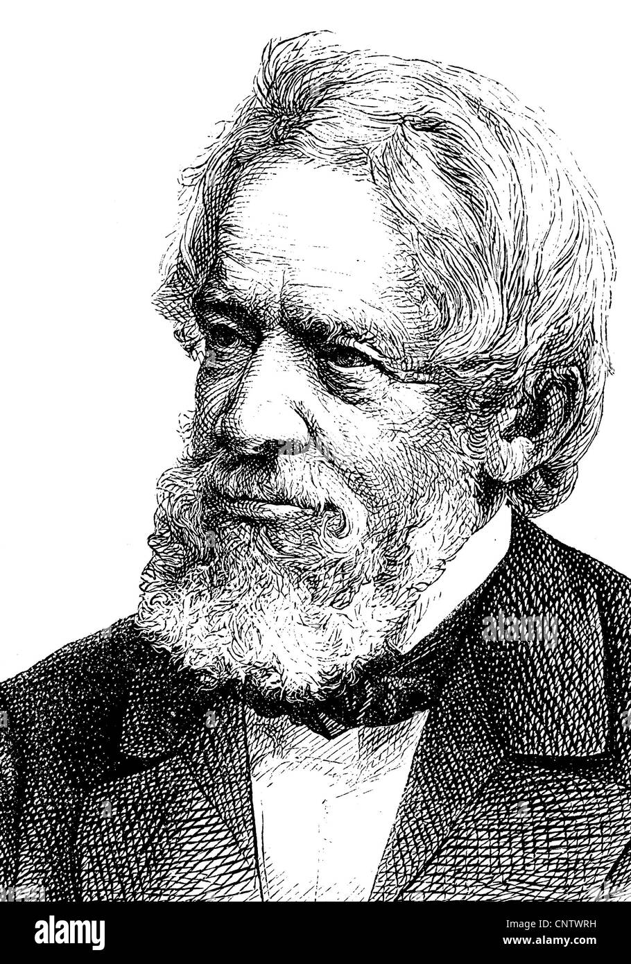 Heinrich Wilhelm Dove, 1803-1879, a German physicist and meteorologist, Berlin Geographical Society, historical - Stock Image