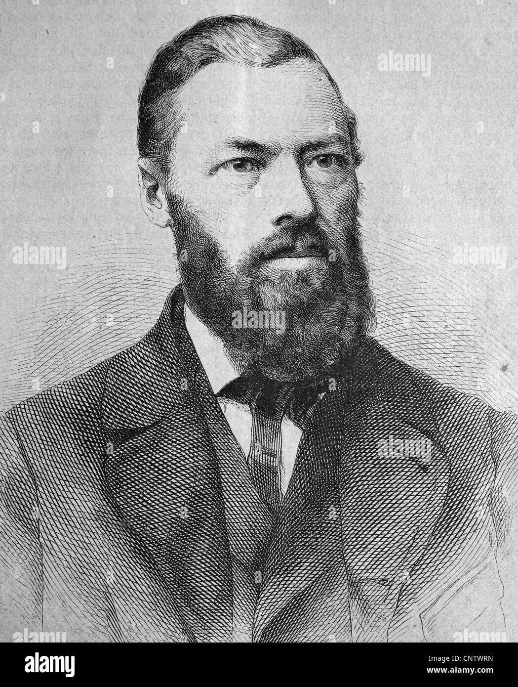 Johannes Scherr, 1817-1886, a German art historian and writer, historical engraving, circa 1869 - Stock Image