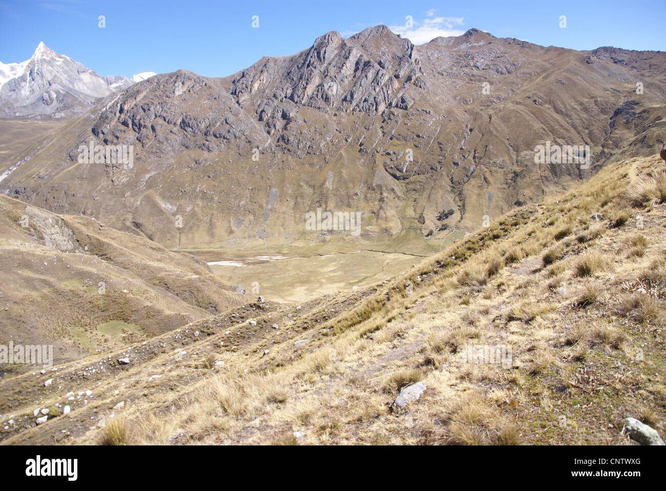 Wild mountain landscape in the Nevada Jurau Andes,Peru, South America - Stock Image