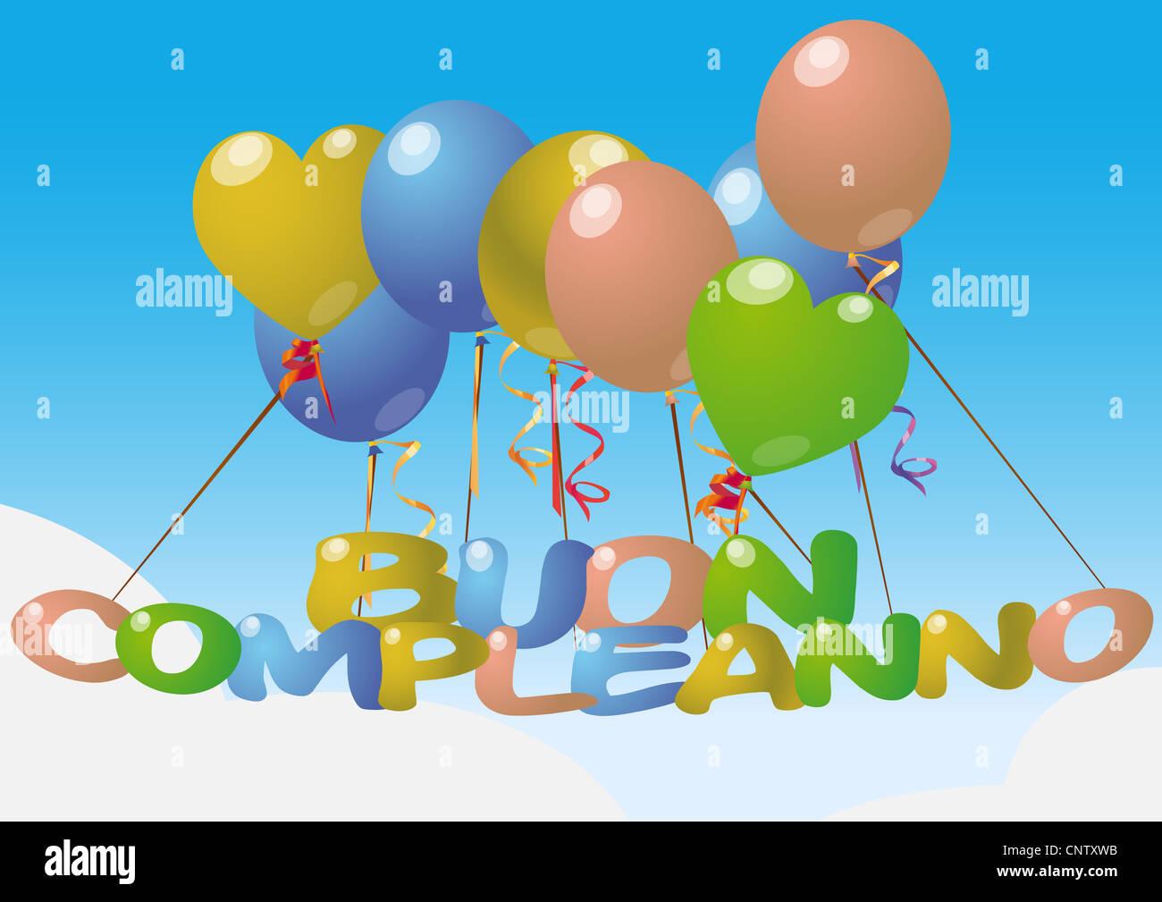 Illustration Of Happy Birthday In Italian Language Stock Photo Alamy