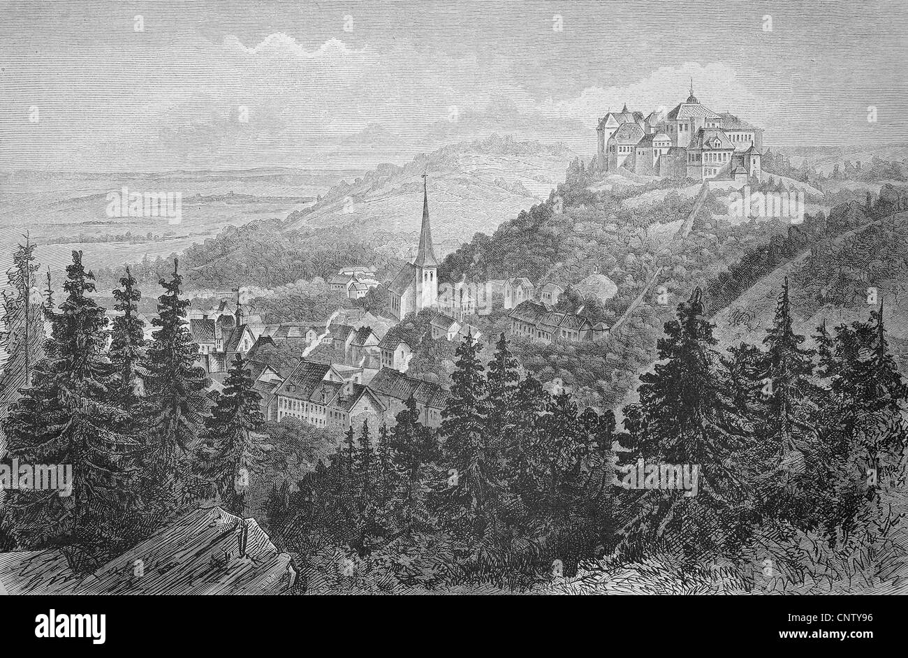 Castle with the town of Blankenburg in the Harz region, Saxony-Anhalt, Germany, historic woodcut, c. 1880 - Stock Image