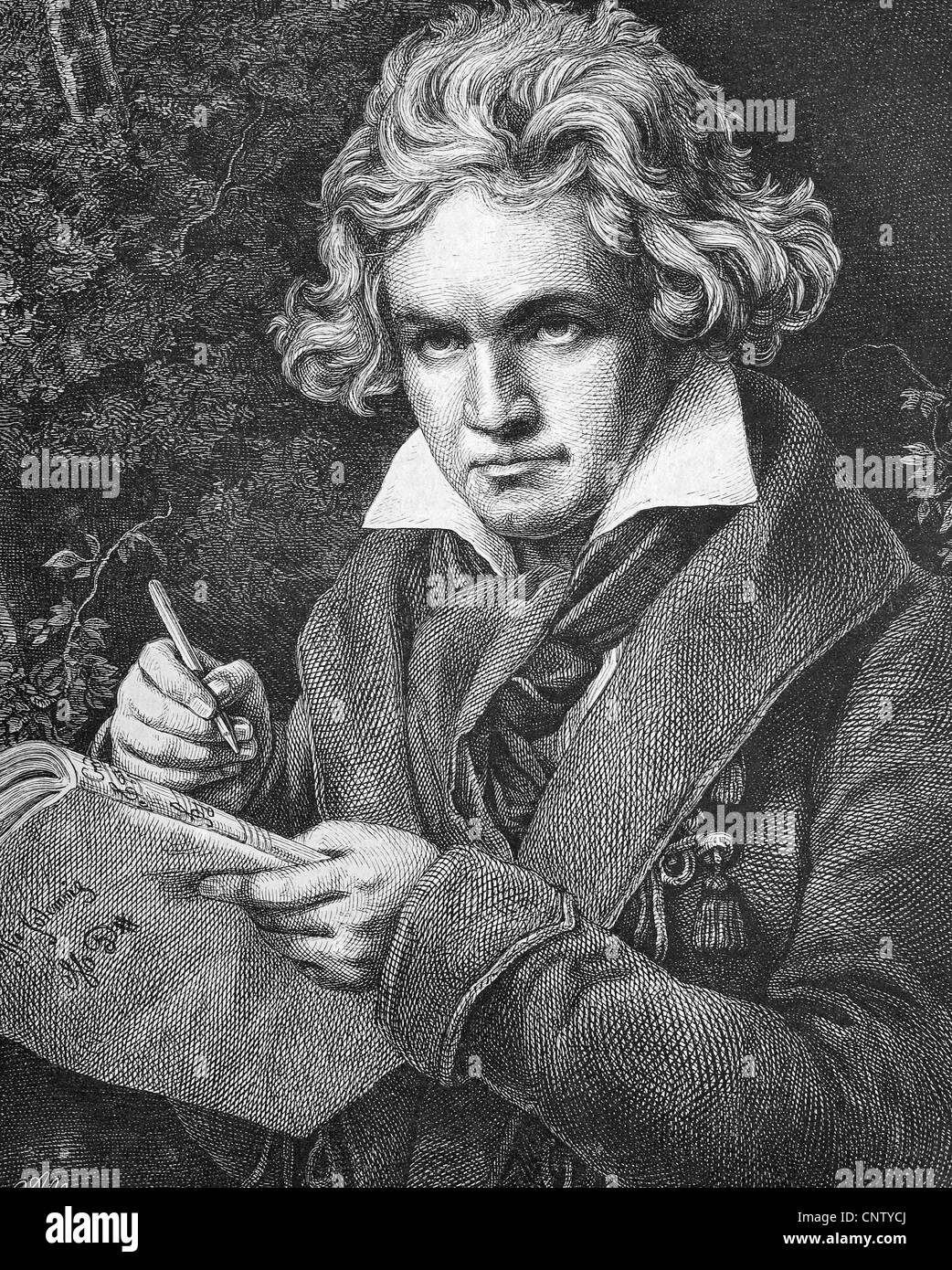 Ludwig van Beethoven, 1770-1827, German composer of the First Viennese School, historic woodcut, ca. 1880 - Stock Image