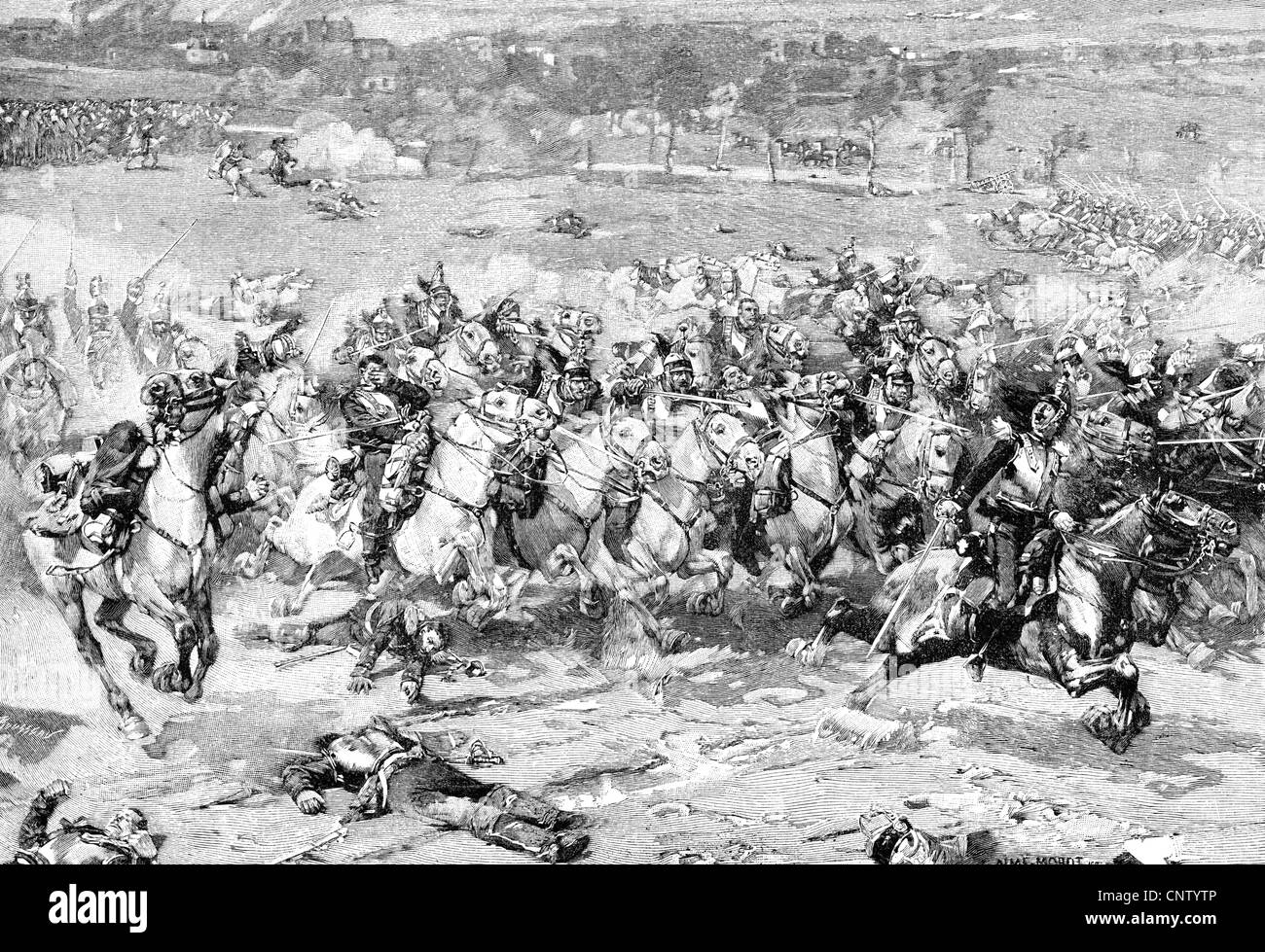 events, Franco-Prussian War 1870 - 1871, Battle of Woerth, 6.8.1870, charge of French cuirassiers, wood engraving Stock Photo