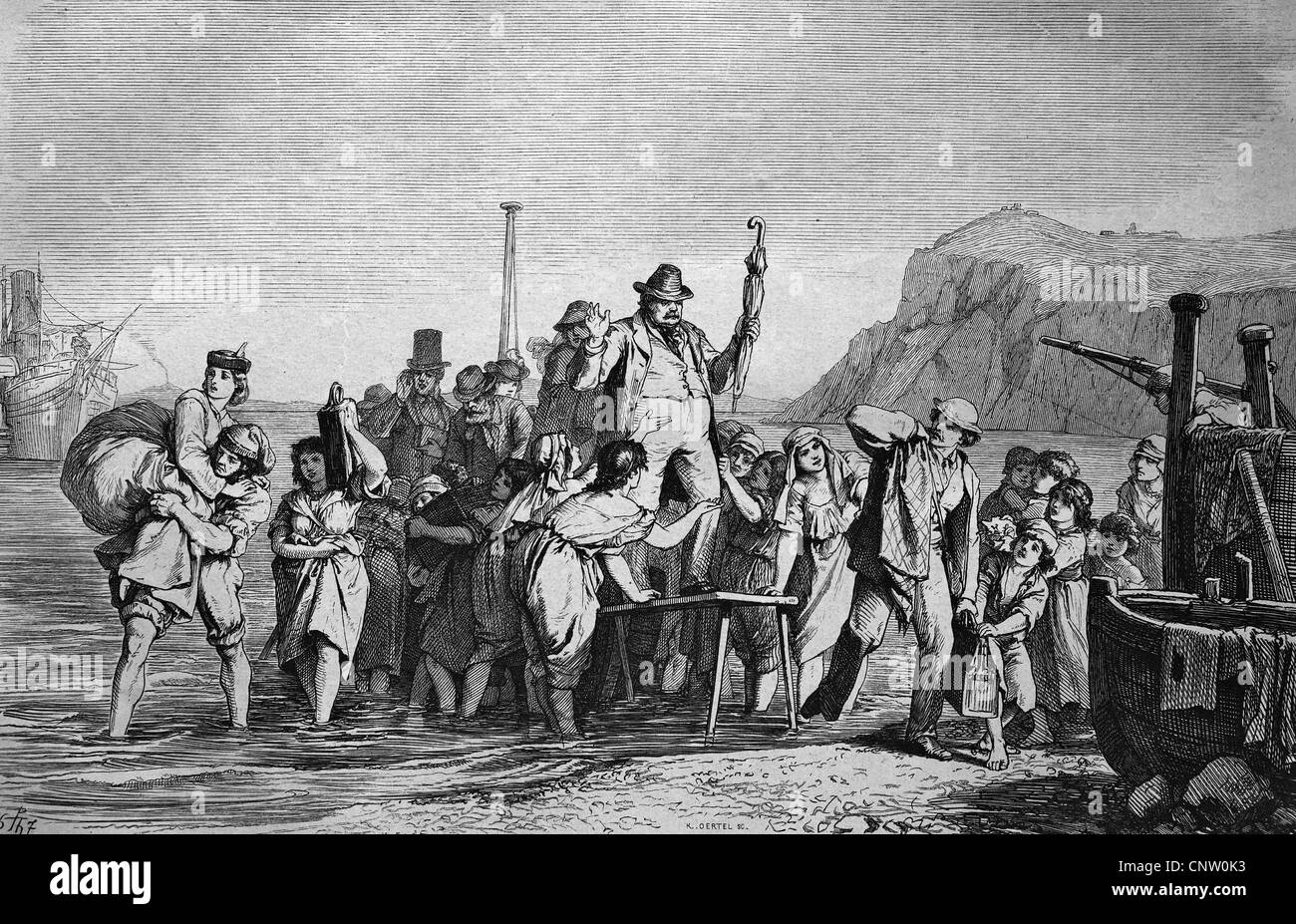 Holidaymakers arriving on the island of Capri, Italy, historical engraving, 1869 Stock Photo