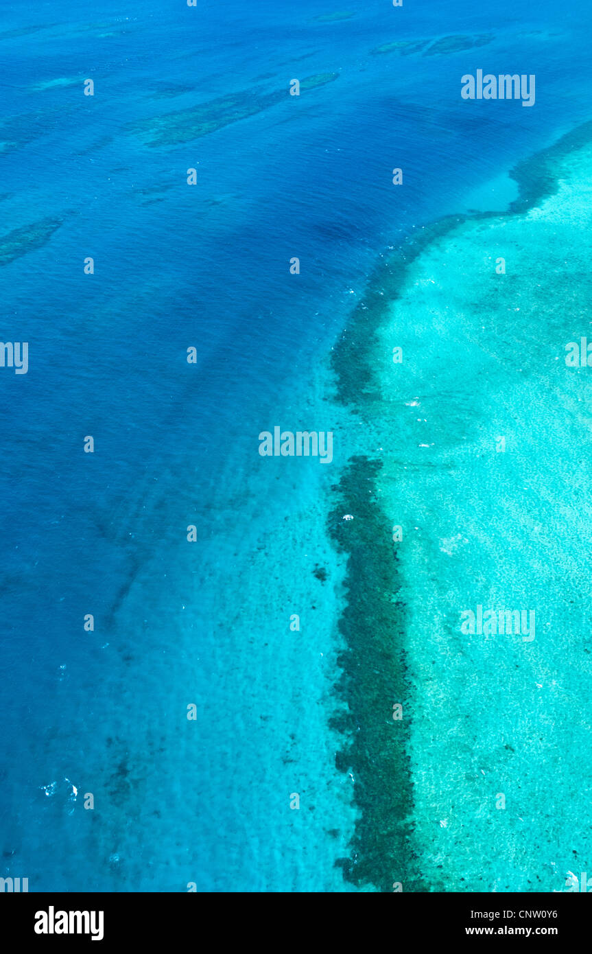 Sand banks and reefs, Mafia Channel between  Rufiji River estuary and Mafia Island, aerial view, Tanzania Stock Photo