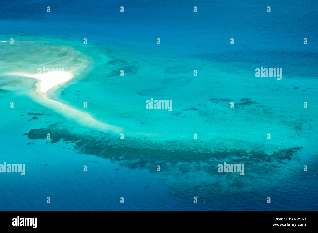 Sand banks and reefs, Mafia Channel between  Rufiji River estuary and Mafia Island, aerial view, Tanzania - Stock Image